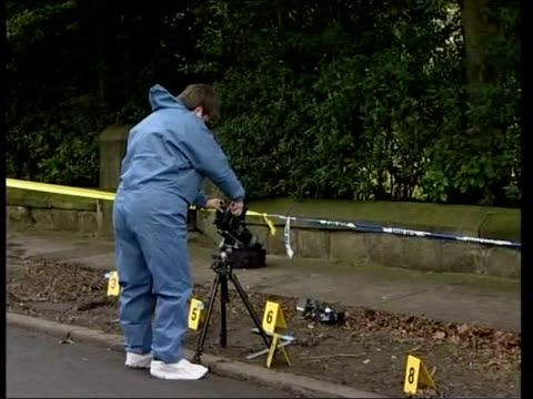 david bieber denies murder itn leeds gvs forensic officers at scene of murder - pc ian broadhurst stock videos & royalty-free footage