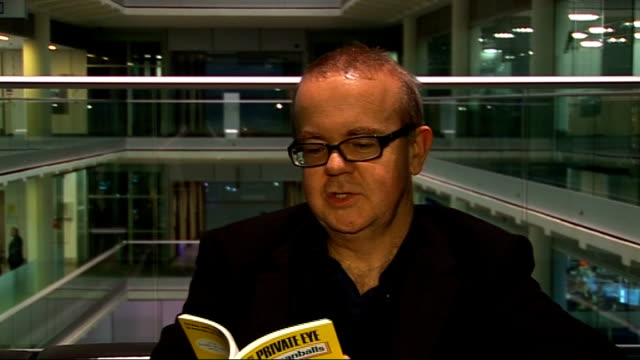 ian hislop interview; ian hislop interview continued sot - on other book - 'colemanballs' - including quotes from book - ian hislop stock videos & royalty-free footage