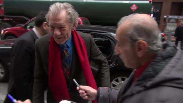ian mckellen arrives at the today show in rockefeller center in new york city - celebrity sightings in new york city, ny on 12/02/13 - ian mckellen stock videos & royalty-free footage