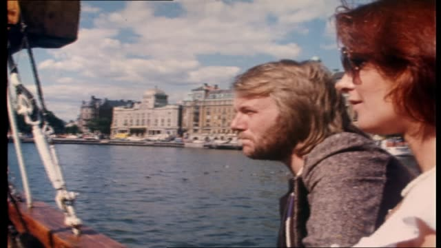 "vídeos de stock e filmes b-roll de ian ""molly"" meldrum interviews abba on board tall ship ""agnes stockholm"" as they sail around stockholm harbor - commenting on the sites of stockholm... - 1976"