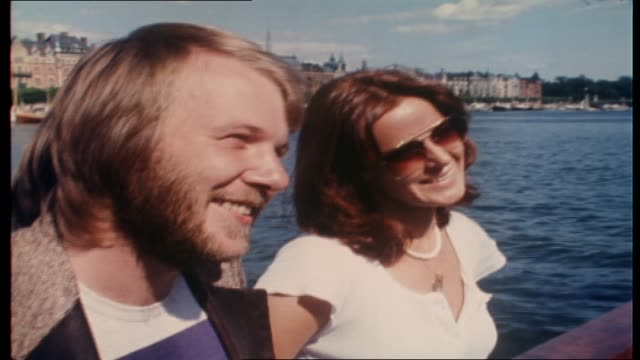 "vídeos de stock e filmes b-roll de ian ""molly"" meldrum interviews abba on board tall ship ""agnes stockholm"" as they sail around stockholm harbor: topics include their new single... - 1976"