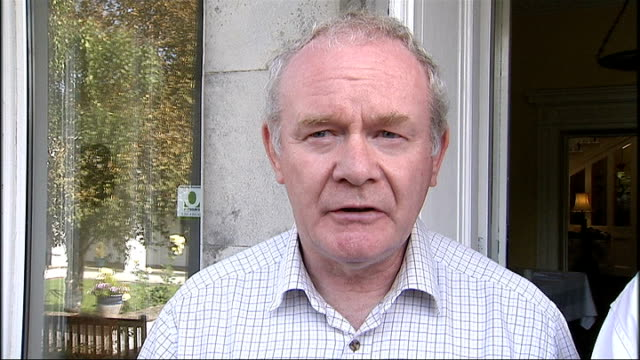 mcguinness and adams reactions northern ireland drogheda ext martin mcguinness interview on the death of former dup leader ian paisley sot gerry... - イアン ペイズリー シニア点の映像素材/bロール