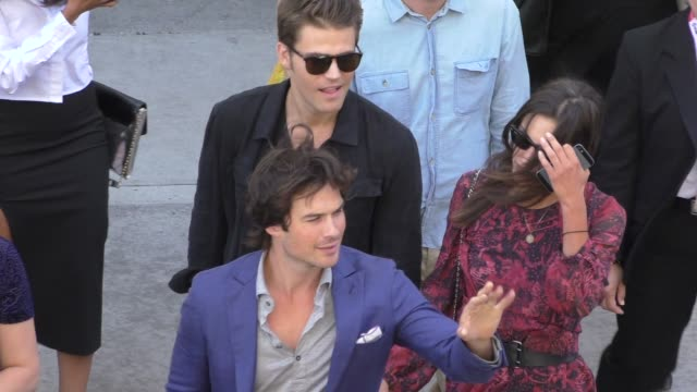 Ian Somerhalder Candice Accola Paul Wesley and Phoebe Tonkin at ComicCon Celebrity Sightings on July 11 2015 in San Diego California