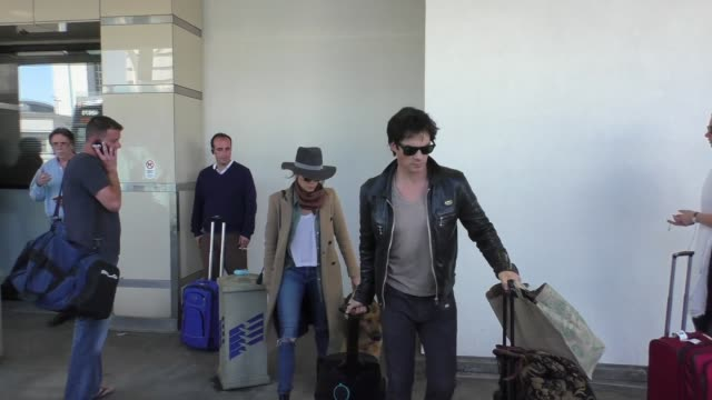 Ian Somerhalder Nikki Reed arriving at LAX Airport in Los Angeles in Celebrity Sightings in Los Angeles