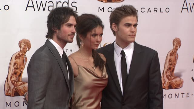 Ian Somerhalder Nina Dobrev and Paul Wesley at the 50th Monte Carlo TV Festival Closing Ceremony at MonteCarlo