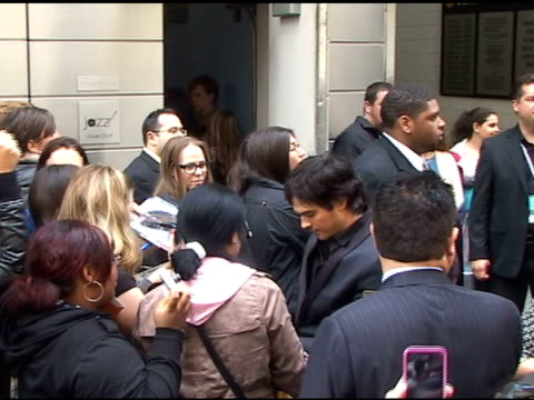 Ian Somerhalder signs autographs for fans as he departs the CW Upfronts in New York 05/19/11