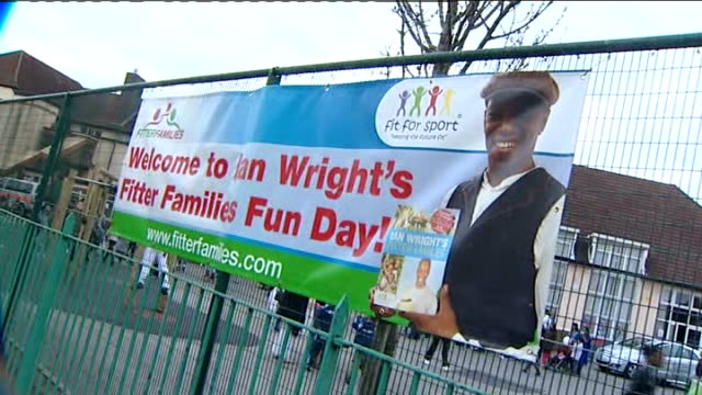 ian wright hosts 'fitter families' roadshow ian wright fitter families fun day sign - ian wright stock videos and b-roll footage