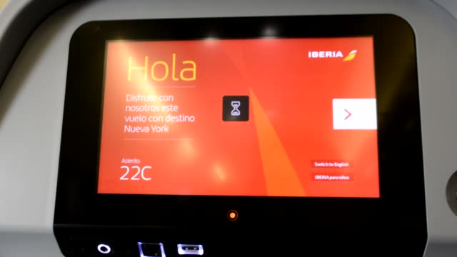 iberia flight 6253 airbus a340600 from barajas airport in madrid spain to new york jfk / flight entertainment onboard touch lcd screen attached to... - liquid crystal display television stock videos and b-roll footage