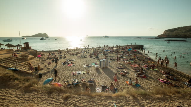 ibiza beach time lapse - balearic islands stock videos and b-roll footage