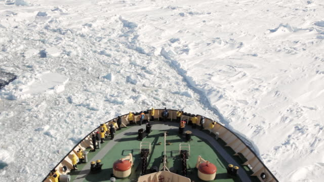 ws pov ice breaker ship moving through ice / weddell sea,  antarctica - antarctic ocean stock videos & royalty-free footage