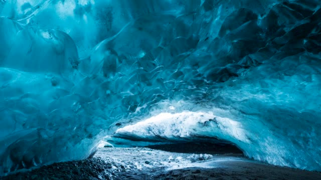 ice cave in vatnatjokull glacier - cave stock videos and b-roll footage