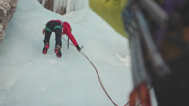 ice climbing on waterfall - rope stock videos & royalty-free footage