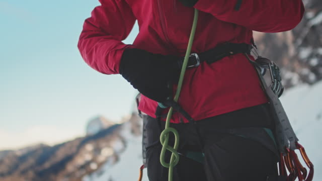 ice climbing rope - safety harness stock videos & royalty-free footage