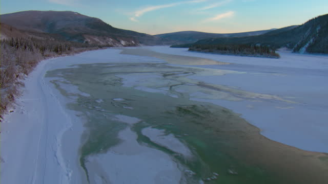 Ice covers the Yukon River in Canada.