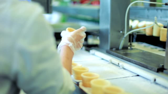 ice cream cones production line - cookie stock videos and b-roll footage