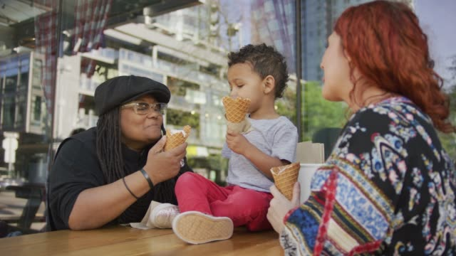 ice cream in the city - frozen yogurt stock videos and b-roll footage