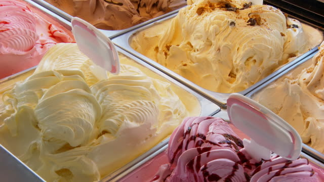 hd dolly: ice cream in tubs - raspberry stock videos and b-roll footage