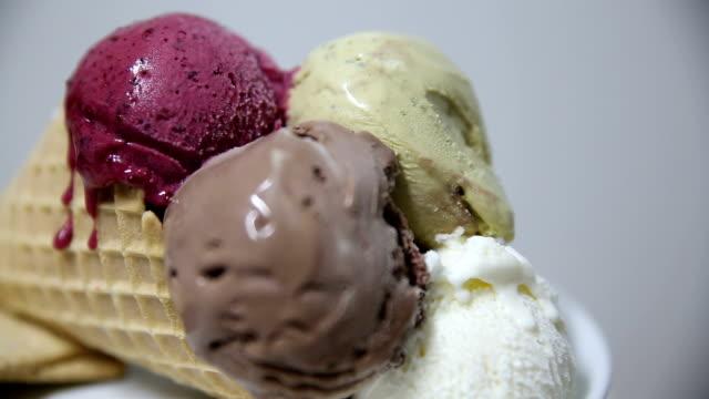 ice cream melting - frozen yogurt stock videos and b-roll footage
