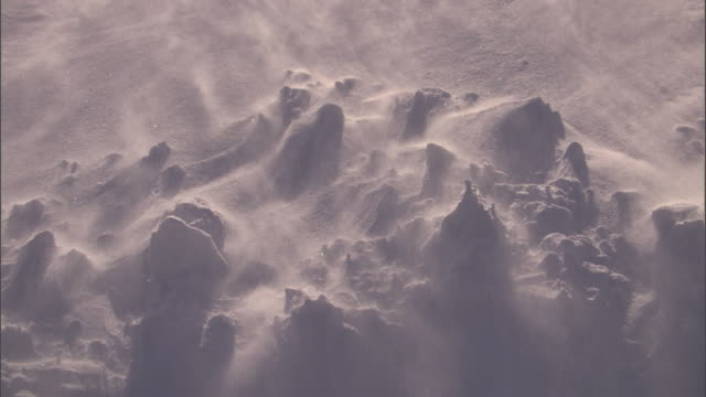 Ice crystals blow over snowy ground, Yellowstone, USA