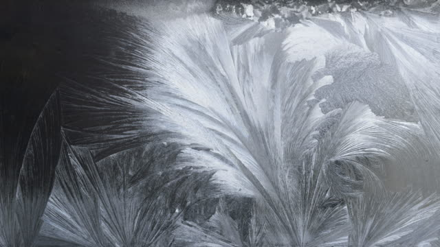 tl / ice crystals growing on window - kristalle stock-videos und b-roll-filmmaterial