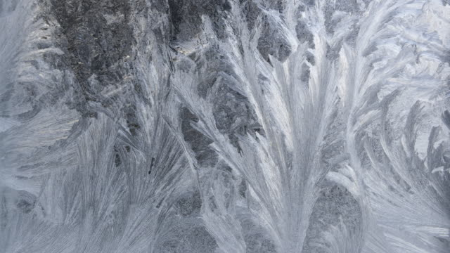 tl / ice crystals melting on window - natürliches muster stock-videos und b-roll-filmmaterial