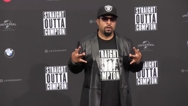 ice cube attends the german premiere of 'straight outta compton' at the sony center - editorial stock videos & royalty-free footage