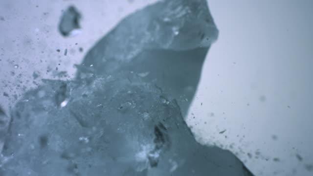 SLO MO ECU Ice cube crushing on ice cube