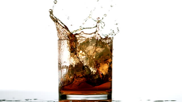 vidéos et rushes de ice cube falling in whiskey tumbler on white background - whisky