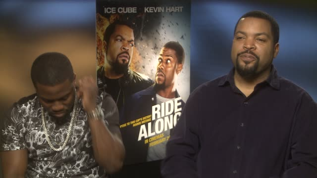ice cube on the nwa biopic and his wanting his son to play him at 'ride along' interviews at dorchester hotel on february 24 2014 in london england - 伝記映画点の映像素材/bロール