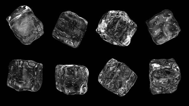cubetti di ghiaccio 4k alpha loop - cubetto di ghiaccio video stock e b–roll