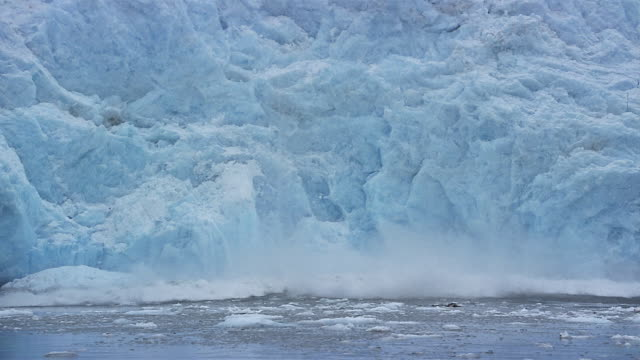 ms ice falling from glacier/ blackstone bay, alaska - ice stock videos & royalty-free footage