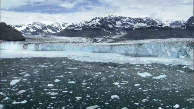 ice floating on frozen bay near columbia glacier alaska. available in hd. - columbia glacier stock videos & royalty-free footage