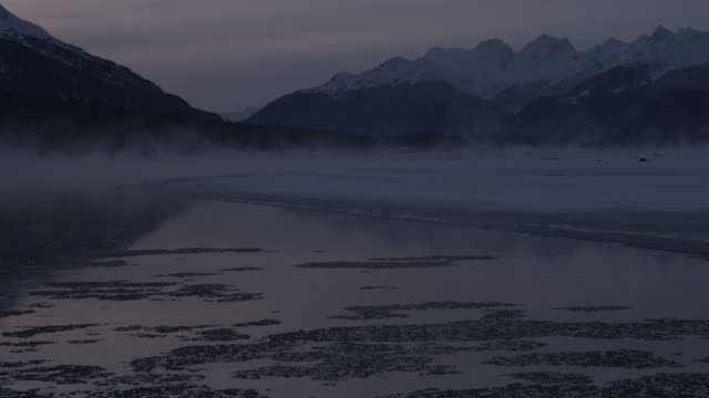 vídeos de stock, filmes e b-roll de ice floats down misty river at sunrise, alaska, usa - coberto de neve