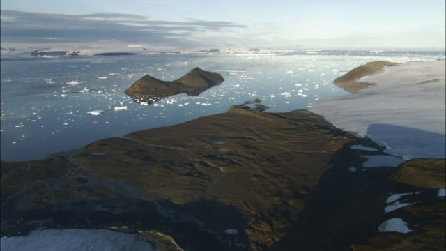 Ice floes on water