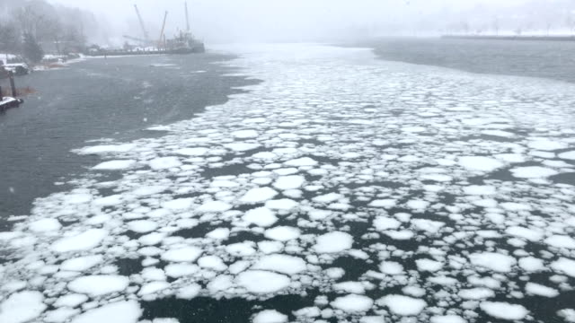 ice flows through the new haven harbor on january 4 2018 in new haven connecticut the 'bomb cyclone' was expected to dump heavy snows in new england... - new haven stock-videos und b-roll-filmmaterial