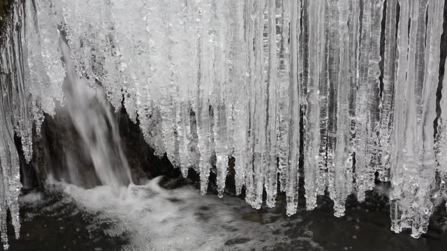 ice forming on stock ghyll in ambleside during march 2018, lake district, uk. - falling water stock videos & royalty-free footage