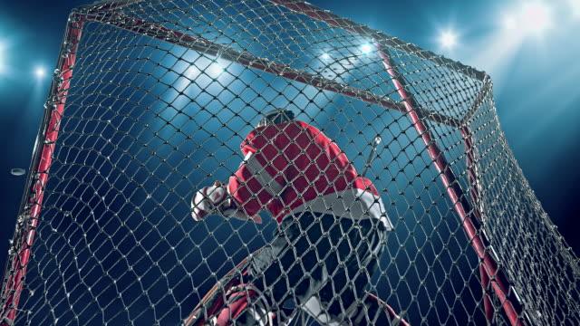 torwart-hockey-spieler - trefferversuch stock-videos und b-roll-filmmaterial