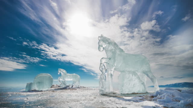 Ice Horses on the frozen surface of Lake Baikal