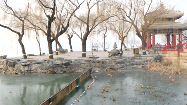 ice lake at summer palace , morning fog , beijing , china - summer palace beijing stock videos & royalty-free footage