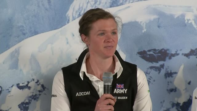stockvideo's en b-roll-footage met ice maidens discuss their recordbreaking antarctic journey england berkshire royal military academy sandhurst int 'ice maidens' expedition team... - recordbrekend