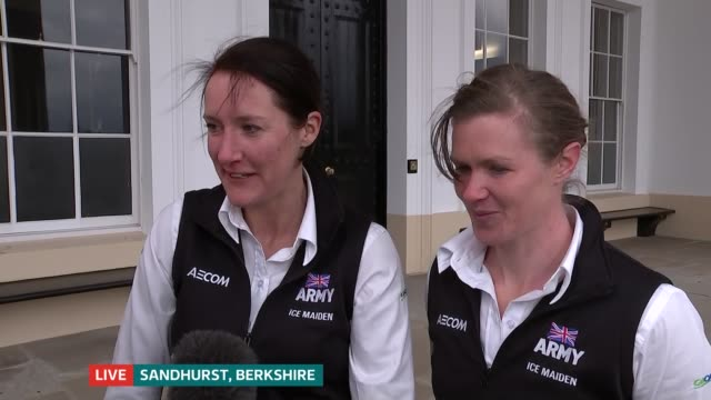 ice maidens discuss their recordbreaking antarctic journey england berkshire sandhurst ext lance sergeant sophie montagne and major nics wetherill... - sergeant stock videos and b-roll footage