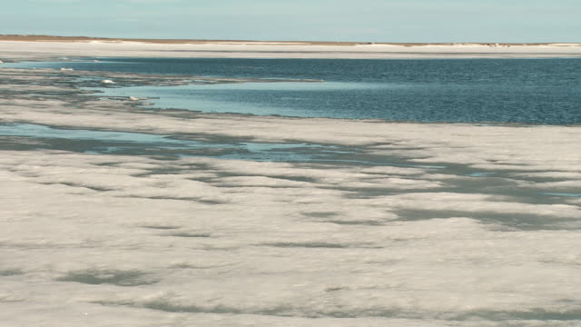 vídeos de stock, filmes e b-roll de ice melts in an inlet in the arctic circle by igloolik - clima polar