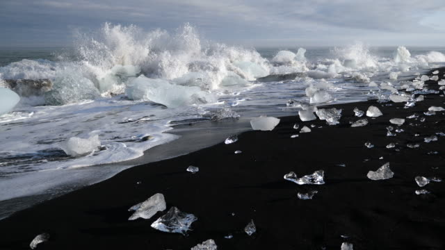 ice on diamond beach in iceland - iceland stock videos & royalty-free footage