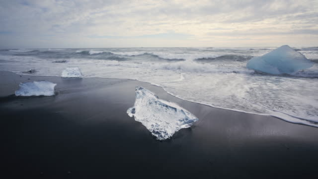 Ice on the beach near Jokulsarlon Lagoon in Southern Iceland