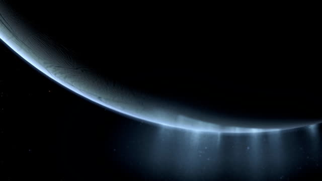 ice plumes of enceladus - polarklima stock-videos und b-roll-filmmaterial