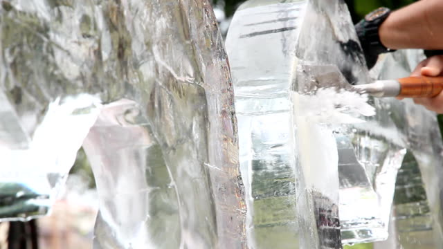 ice sculpture carving - carving craft product stock videos and b-roll footage