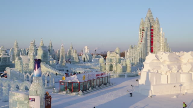 ice sculptures at the harbin ice and snow festival in heilongjiang province, harbin, china - snow festival stock videos & royalty-free footage