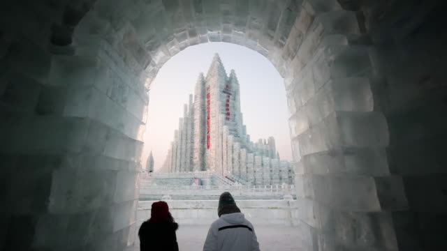 ice sculptures at the harbin ice and snow festival in heilongjiang province, harbin, china - awe stock videos & royalty-free footage