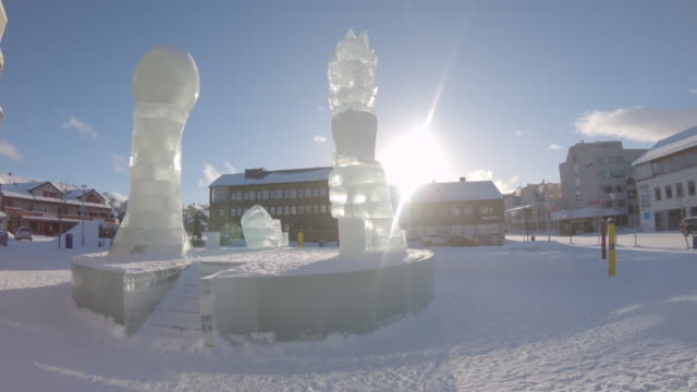 pov ice sculptures in a small town kirkenes - scandinavian culture stock videos and b-roll footage
