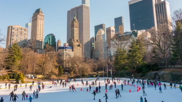 vidéos et rushes de patinoire de central park - patinoire